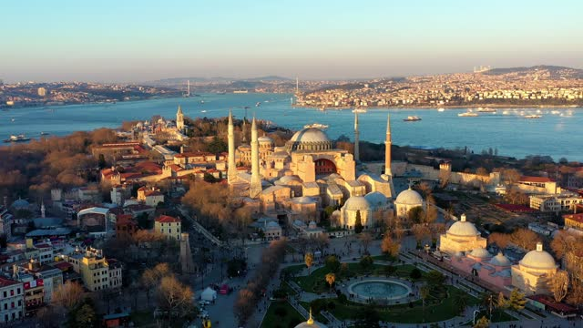 hagia sophia 4k drone wide angle - istanbul stock videos & royalty-free footage