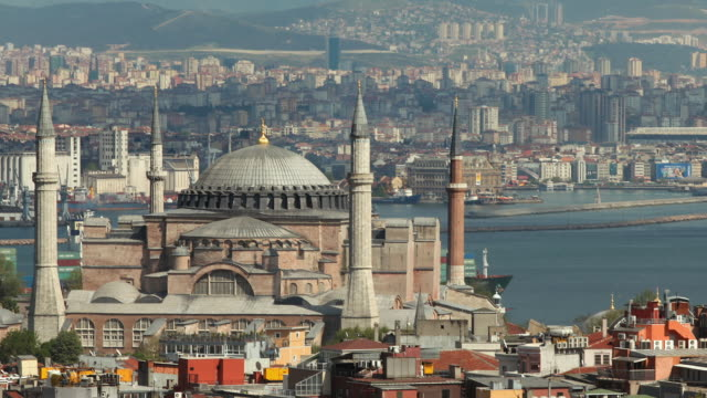 t/l ms zo ws ha hagia sophia and container ship, istanbul, turkey - hagia sophia istanbul stock videos & royalty-free footage