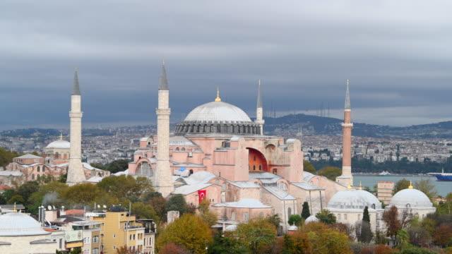 hagia sophia - ( ayasofya cami ) in istanbul - turkey - hagia sophia istanbul stock videos & royalty-free footage