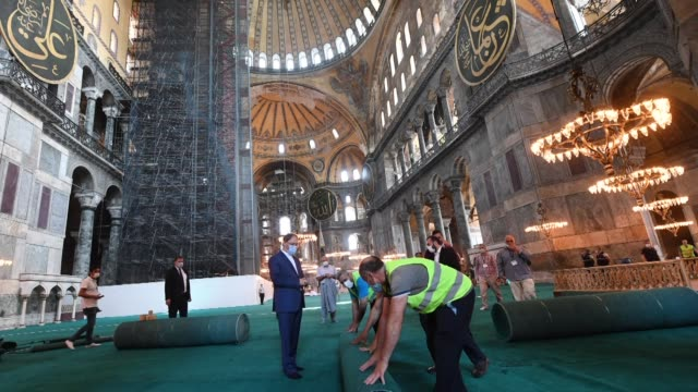hagia sophia mosque is set to reopen on friday for worship for the first time in 86 years with friday prayers. on july 10, a turkish court annulled a... - religious symbol stock videos & royalty-free footage
