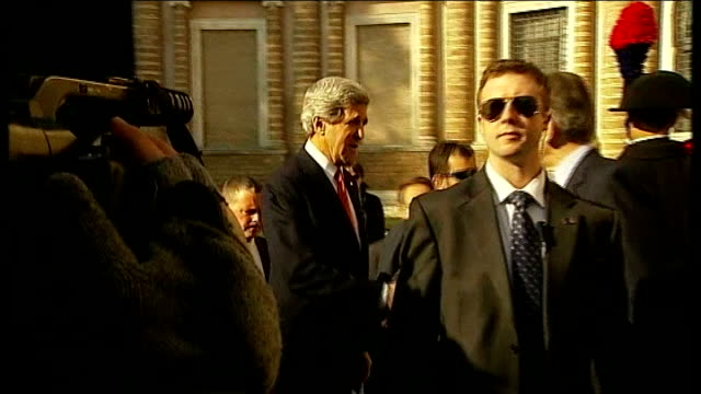 Hague says Britain cannot afford to sit on the sidelines T28021346 Rome EXT John Kerry greeted on arrival for talks with Syrian rebel leaders