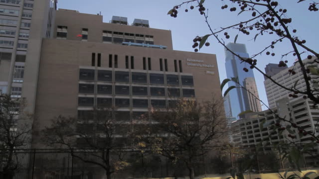 la hahnemann university hospital in front of the comcast center building / philadelphia, pennsylvania, united states - in front of stock videos & royalty-free footage