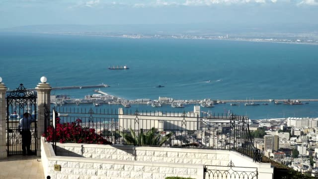 haifa bay on a warm spring day - haifa video stock e b–roll