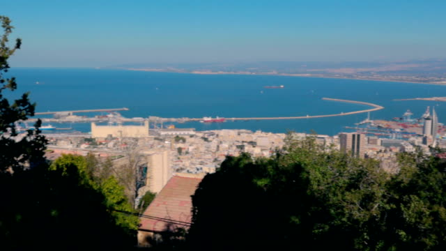 haifa seaport, israel panorama - stock video - haifa video stock e b–roll