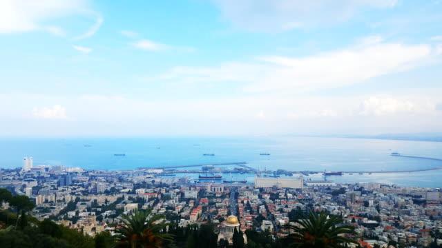 haifa - view of haifa and bahai temple - haifa stock videos and b-roll footage