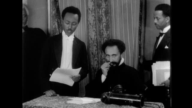 haile selassie broadcasts peace plea over radio on january 01 1935 in addis ababa ethiopia - ethiopia stock videos & royalty-free footage
