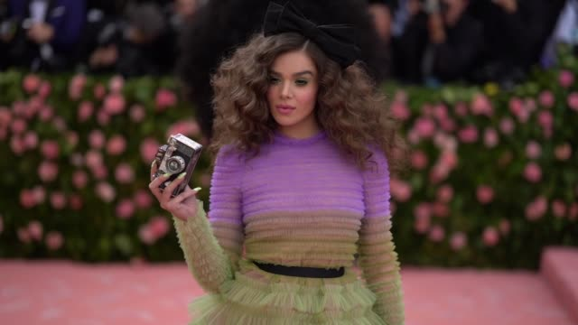 hailee steinfeld at the 2019 met gala celebrating camp notes on fashion arrivals at metropolitan museum of art on may 06 2019 in new york city - met gala 2019 stock videos and b-roll footage