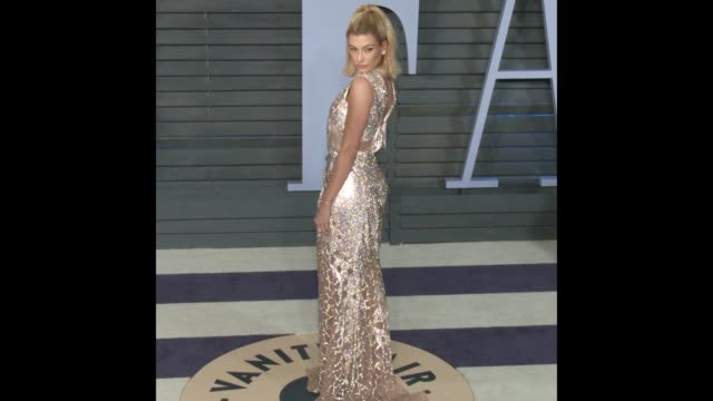 hailey baldwin at 2018 vanity fair oscar party - gif file format extension stock videos & royalty-free footage