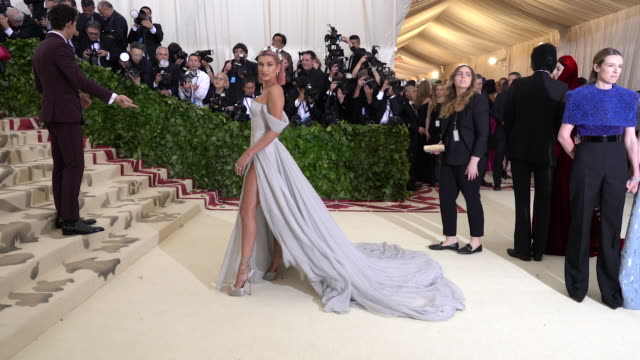 fashion the catholic imagination costume institute gala alternative views at the metropolitan museum of art on may 07 2018 in new york city - hailey rhode bieber stock videos & royalty-free footage