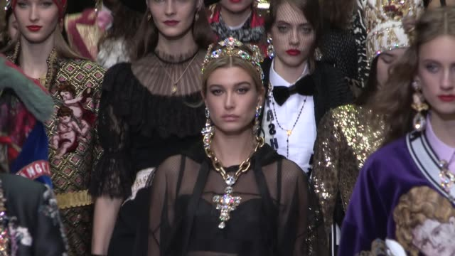 hailey baldwin, her fellow models and designers domenico dolce and stefano gabbana on the runway for the dolce & gabbana ready to wear fall winter... - dolce & gabbana stock videos & royalty-free footage