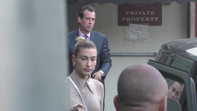 hailey baldwin makes a low key exit at craig's restaurant in west hollywood in celebrity sightings in los angeles - hailey rhode bieber stock videos & royalty-free footage