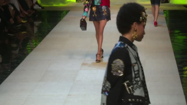 hailey baldwin, sara sampaio and fellow models and designer on the runway for the dolce gabbana ready to wear fashion show - spring summer 2017 in... - dolce & gabbana stock videos & royalty-free footage