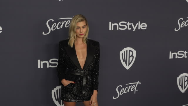 hailey bieber at the beverly hilton hotel on january 05 2020 in beverly hills california - hailey rhode bieber stock videos & royalty-free footage