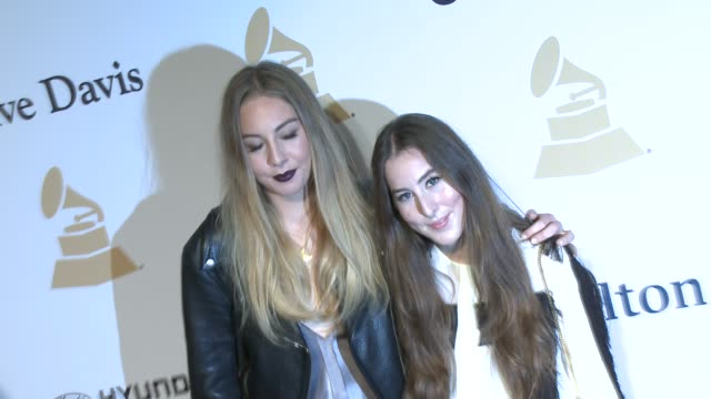 haim at the pre-grammy gala and salute to industry icons honoring martin bandier at the beverly hilton hotel on february 07, 2015 in beverly hills,... - the beverly hilton hotel stock videos & royalty-free footage