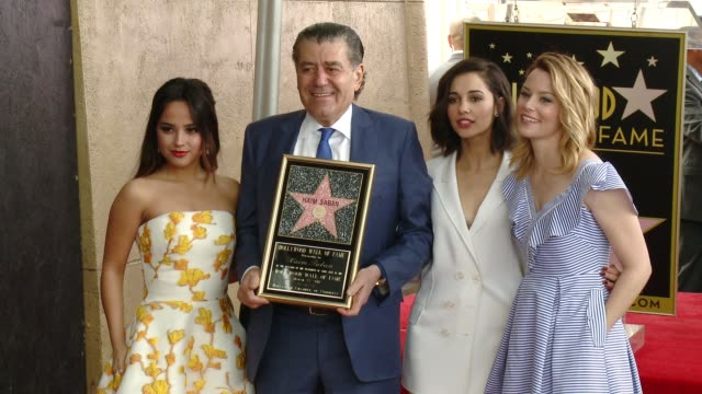 haim saban dacre montgomery rj cyler naomi scott ludi lin becky g elizabeth banks dean israelite at star ceremony on the hollywood walk of fame... - israelite stock videos & royalty-free footage