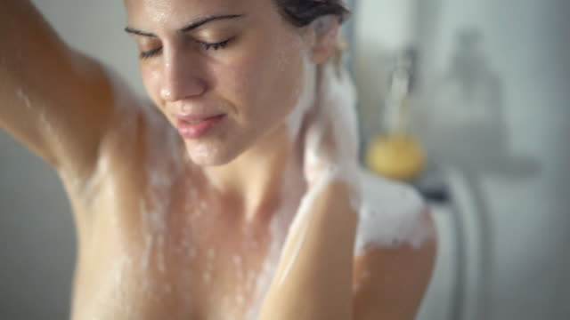 hair and body wash - shower stock videos & royalty-free footage