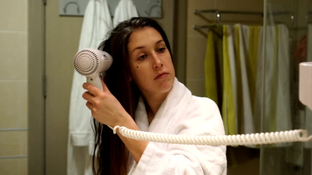 hair care - slow mo - bathrobe stock videos & royalty-free footage