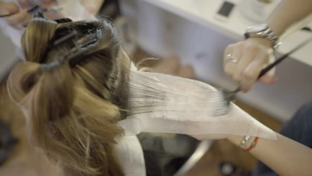 hair dying - beauty salon stock videos and b-roll footage
