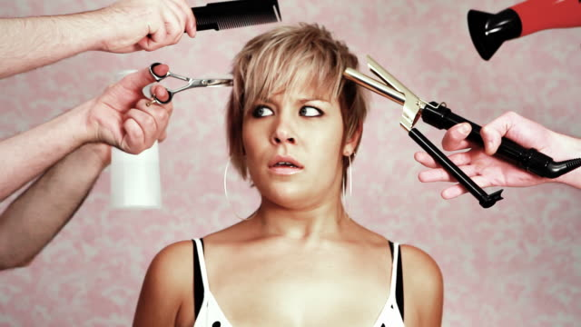hair panic - cutting hair stock videos and b-roll footage