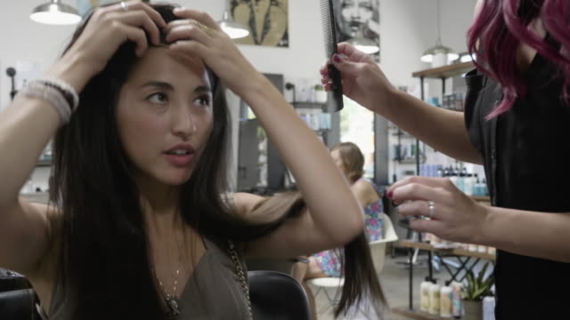 hair salon - brushing hair stock videos & royalty-free footage