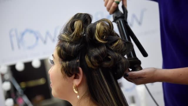 toronto ontario september 09 hair styling at 2019 toronto international film festival portrait studio at intercontinental hotel on september 09 2019... - intercontinental hotels group stock videos & royalty-free footage