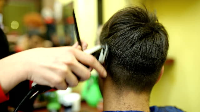 hairdresser cutting male hair by machine - beautician stock videos and b-roll footage