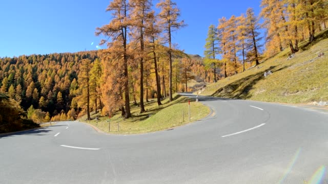 Hairpin turn on pass road in autumn, La Punt-Chamues-ch,  Albulapass, Engadin, Grisons, Switzerland, European Alps