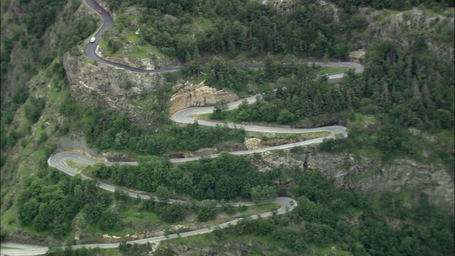 AERIAL Hairpins bends in Alpine landscape, Vaud, Switzerland