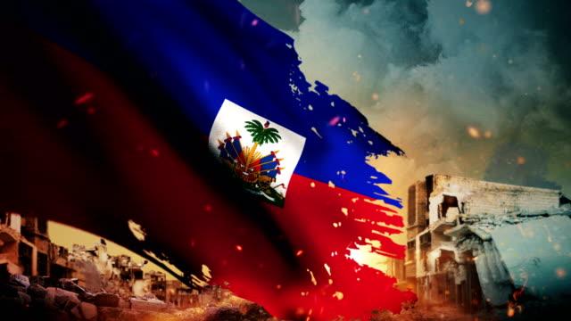 4k haiti flag - crisis / war / fire (loop) - flag haiti stock videos & royalty-free footage