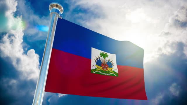4k - haiti  flag | loopable stock video - flag haiti stock videos & royalty-free footage