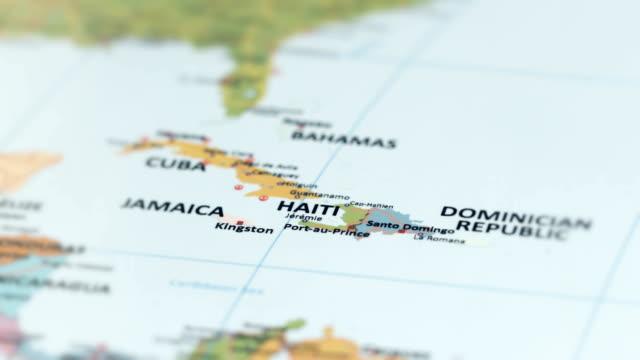 nordamerika-haiti auf weltkarte - süden stock-videos und b-roll-filmmaterial