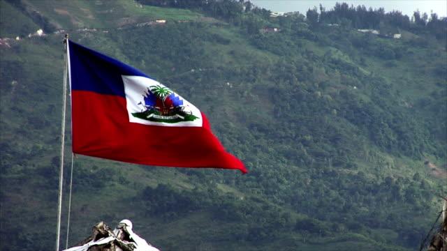 stockvideo's en b-roll-footage met haitian flag flapping in the breeze - haïti