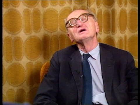 prague int dr jiri hajek interview sot - 1968 stock-videos und b-roll-filmmaterial
