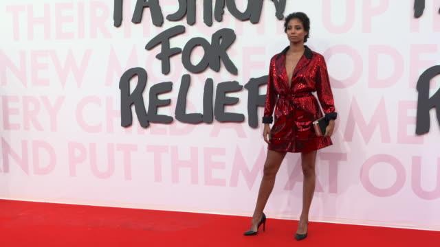 hajiba fahmy at fashion for relief fashion catwalk - the 71st cannes fillm festival at aeroport cannes mandelieu on may 13, 2018 in cannes, france. - カンヌ・マンデリュー空港点の映像素材/bロール
