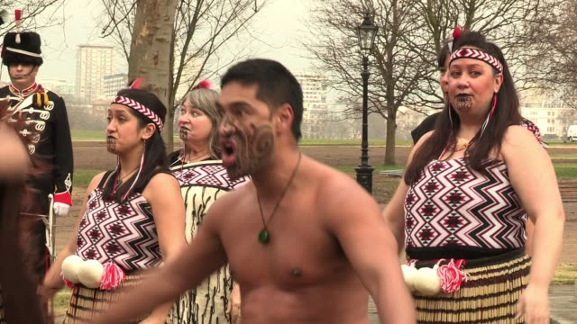 Haka performance by Maoris at the media launch of the Jubilee Family Festival Media Launch Of The Jubilee Family Festival at Hyde Park on February 17...
