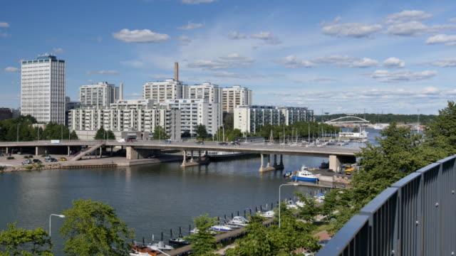 hakaniemi bridge against merihaka district in helsinki, finland - 1961 stock videos & royalty-free footage
