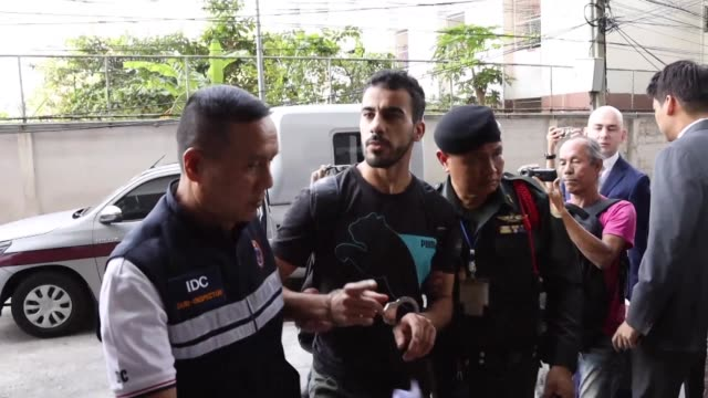 Hakeem Alaraibi refugee footballer from Bahrain facing extradition back to the Gulf state arrives at a court in Thailand where he was ordered to...