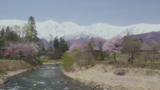 hakuba mountain range and himekawa river - nagano prefecture stock videos and b-roll footage