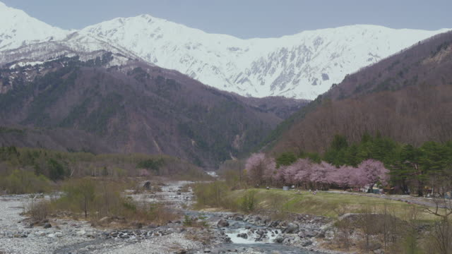 hakuba mountain range and matsukawa river - nagano prefecture stock videos and b-roll footage