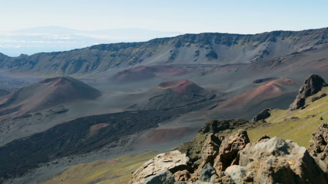 haleakala crater, haleakala national park, maui, hawaii - local landmark stock videos and b-roll footage