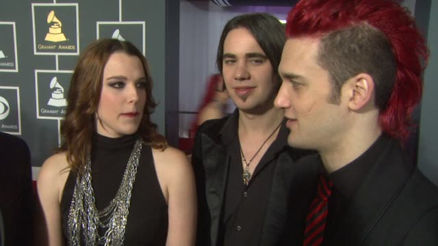 interview halestorm on being nominees and on being at the event at the 55th annual grammy awards arrivals interviews in los angeles ca on 2/10/13 - grammy awards stock videos and b-roll footage