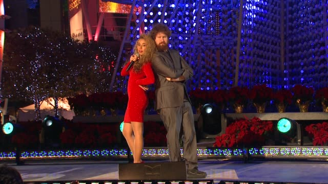 Haley Reinhart Casey Abrams at 4th Annual Holiday Tree Lighting At LA LIVE Opening Of LA Kings Holiday Ice in Los Angeles CA