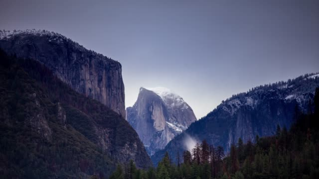 half dome and el capitan in winter - time lapse - half dome stock videos & royalty-free footage