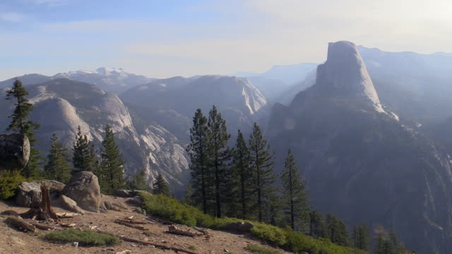 half dome landscape, yosemite national park, california - mariposa county stock videos and b-roll footage