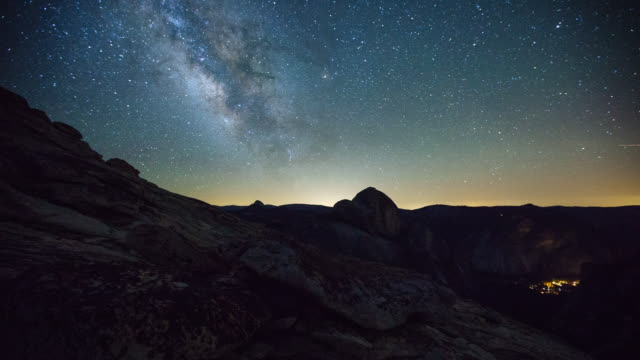 half dome milky way - yosemite national park stock videos and b-roll footage