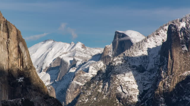 half dome yosemite panoramic winter landscape - yosemite national park stock videos & royalty-free footage