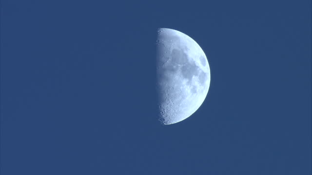 a half moon glows in a blue sky. - half moon stock videos & royalty-free footage