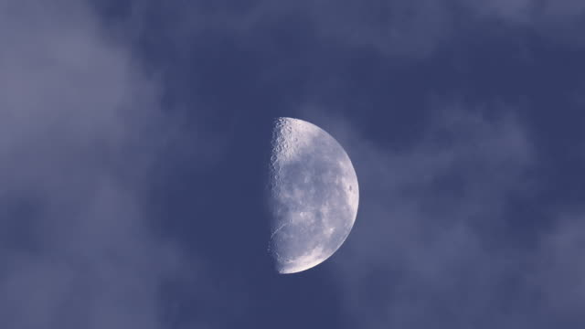 half moon with moving clouds - half moon stock videos & royalty-free footage
