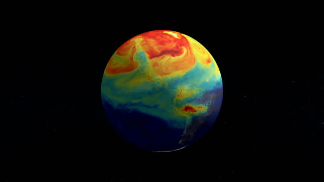 half year of the life of earth co2. from january to june. nasa public domain imagery - heat stock videos & royalty-free footage