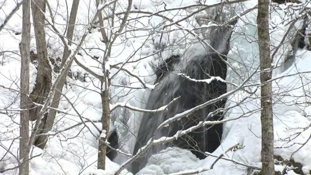 half-frozen waterfall, aomori, japan - oirase river stock videos & royalty-free footage